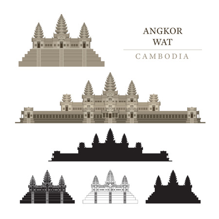 Angkor Wat, Cambodia, Objects, Colourful, Silhouette and Line Illustration