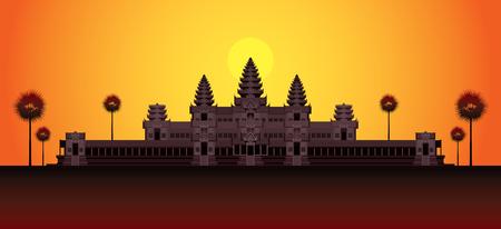Angkor Wat in Sunrise, Cambodia, Landmark, Travel and Tourist Attraction