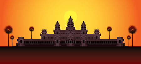 Angkor Wat in Sunrise, Cambodia, Landmark, Travel and Tourist Attraction
