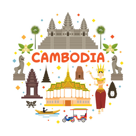 Cambodia Travel Attraction Label, Landmarks, Tourism and Traditional Culture 版權商用圖片 - 70779021