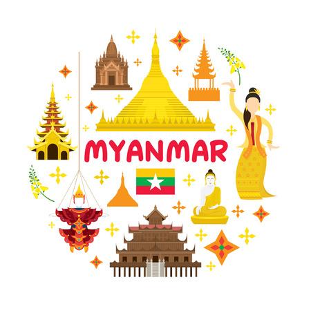 ミャンマー旅行魅力ラベル、ランドマーク、観光、伝統文化