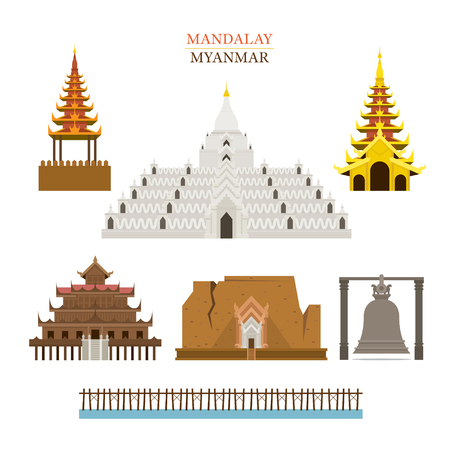 Mandalay, Myanmar, Architecture Building Landmarks, Objects, Travel and Tourist Attraction Illustration