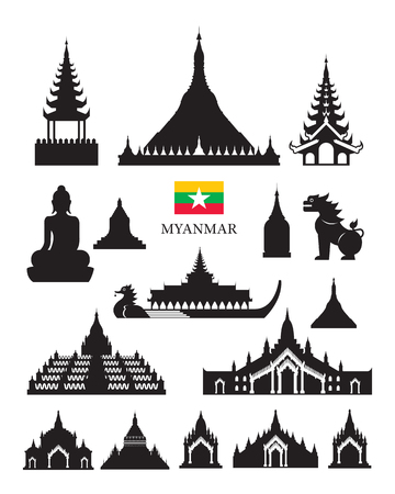 Myanmar Landmarks Architecture Building Object Set, Design Elements, Black and White, Silhouette
