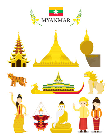Myanmar Landmarks and Culture Object Set, National Symbol and Architecture, Travel and Tourist Attraction