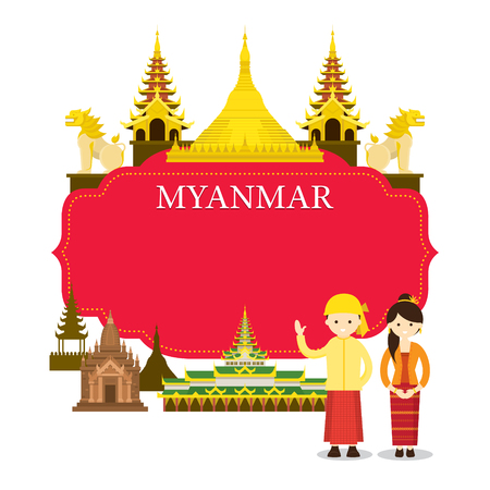 Myanmar Landmarks, People in Traditional Clothing, Frame, Culture, Travel and Tourist Attraction