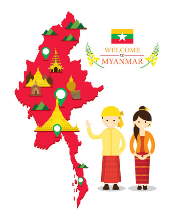 Myanmar Map and Landmarks with People in Traditional Clothing, Culture, Travel and Tourist Attraction