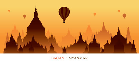 Bagan, Myanmar, Landmarks Silhouette Sunrise Background, Cityscape, Travel and Tourist Attraction Illustration