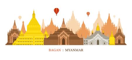 バガン、ミャンマー、建築ランドマーク スカイライン、都市景観、旅行と観光