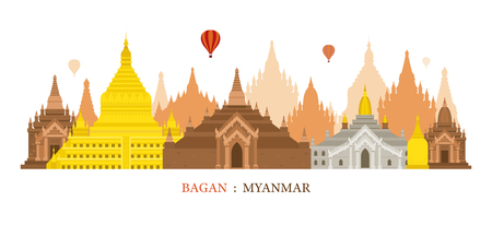 Bagan, Myanmar, Architecture Landmarks Skyline, Cityscape, Travel and Tourist Attraction