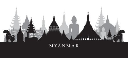 Myanmar monumenten Skyline in zwart en wit silhouet, stadsgezicht, reizen en toeristische attractie