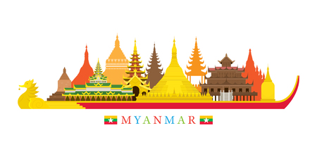 Myanmar Architecture Landmarks Skyline, Cityscape, Travel and Tourist Attraction