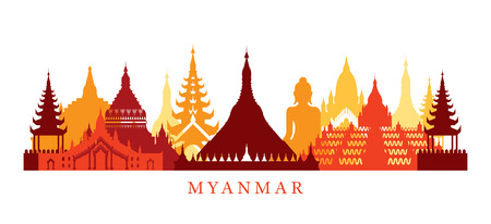 in monastery: Myanmar Architecture Landmarks Skyline, Shape, Silhouette, Cityscape, Travel and Tourist Attraction Illustration