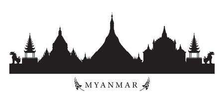 黒と白のシルエット、都市の景観、旅行や観光でミャンマー ランドマーク スカイライン