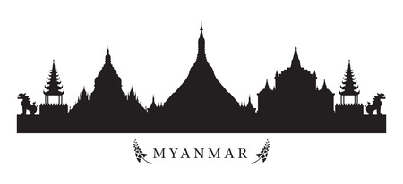 Myanmar Landmarks Skyline in Black and White Silhouette, Cityscape, Travel and Tourist Attraction