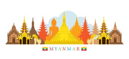 ミャンマー建築ランドマーク スカイライン、都市景観、旅行と観光  イラスト・ベクター素材