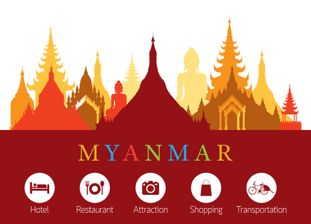 buddha statue: Myanmar Landmarks Skyline with Accommodation Icons, Cityscape, Travel and Tourist Attraction