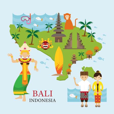 Bali, Indonesië Kaart met reis en attractie, landschappen, toerisme en traditionele cultuur Stock Illustratie