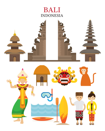 Bali, Indonesia Landmarks and Culture Object Set, Architecture, Travel and Tourist Attraction