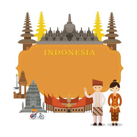 インドネシアのランドマーク、人々 は伝統的な服、フレーム、文化、旅行、観光に  イラスト・ベクター素材