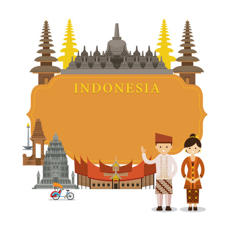 Indonesia Landmarks, People in Traditional Clothing, Frame, Culture, Travel and Tourist Attraction Illustration