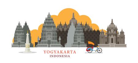 ジョグ ジャカルタ、インドネシア建築ランドマーク スカイライン、都市景観、旅行と観光  イラスト・ベクター素材