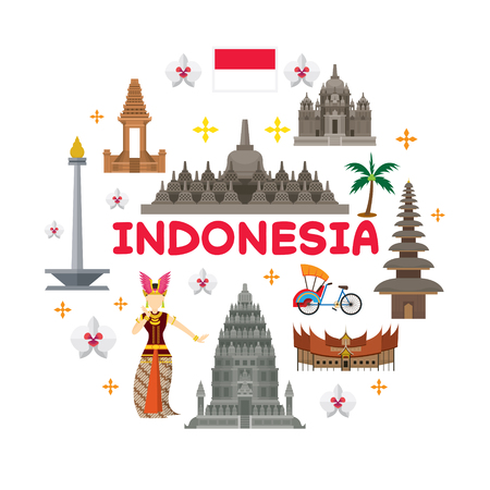 Indonesia Travel Attraction Label, Landmarks, Tourism and Traditional Culture