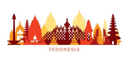 De Horizon van de Oriëntatiepunten van de Architectuur van Indonesië, Vorm, Silhouet, Cityscape, Reis en Toeristische attractie