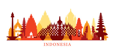 Indonesia Architecture Landmarks Skyline, Shape, Silhouette, Cityscape, Travel and Tourist Attraction Vectores