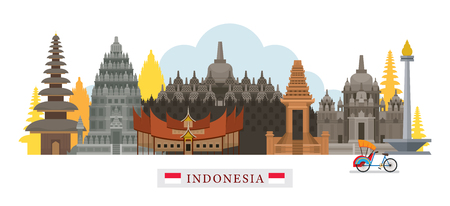 Indonesia Architecture Landmarks Skyline, Cityscape, Travel and Tourist Attraction Vettoriali