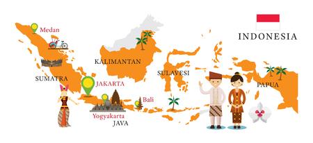 Kaart en monumenten in Indonesië met mensen in traditionele kleding, cultuur, reizen en toeristische attractie