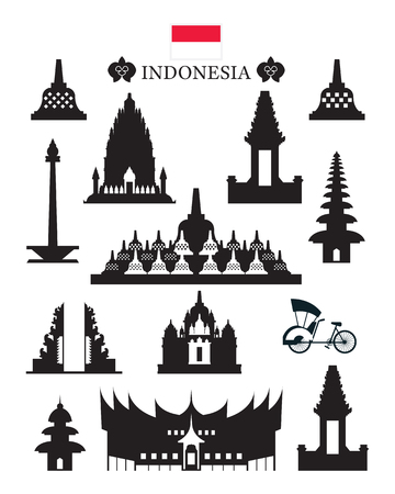 Indonesia Landmarks Architecture Building Object Set, Design Elements, Black and White, Silhouette