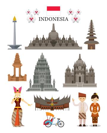 インドネシアのランドマークやカルチャ オブジェクトを設定、国の象徴のアーキテクチャ、旅行と観光