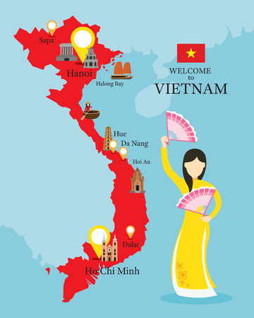 Carte du Vietnam et des monuments avec des gens dans les vêtements traditionnels, la culture, le voyage et l'attraction touristique Banque d'images - 78608895