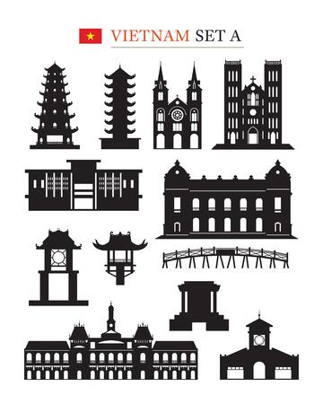 Vietnam Landmarks Architecture Building Object Set, Design Elements, Black and White, Silhouette