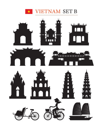 Vietnam Landmarks Architecture Building Object Set, Design Elements, Black and White, Silhouette Stock Vector - 78620951