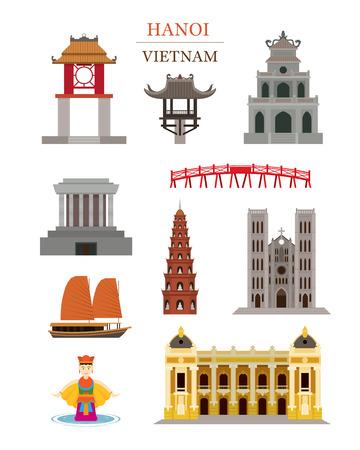 하노이 베트남 랜드 마크 아키텍처 건물 개체 세트, 유명한 장소, 여행 및 관광 명소