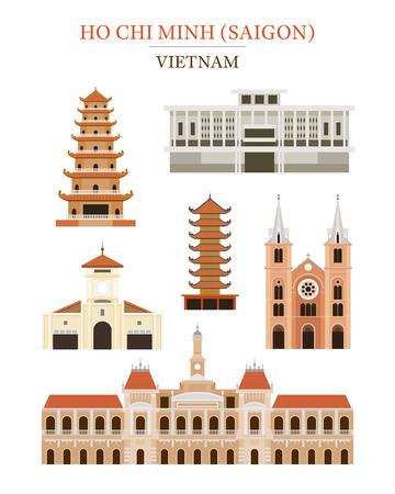 Saigon Vietnam Landmarks Architecture Building Object Set, Ho Chi Minh City, Travel and Tourist Attraction