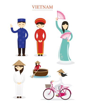 Vietnamese People in Traditional Clothing and Lifestyle, Culture, Travel and Tourist Attraction Illustration
