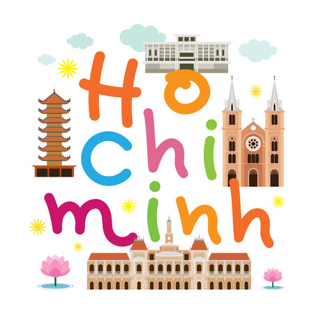 Ho Chi Minh City or Saigon, Vietnam Travel and Attraction, Landmarks, Tourism and Traditional Culture Illustration