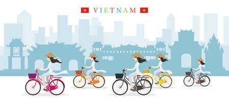 코니 컬 햇 타고 베트남 여성, 자전거, 랜드 마크 배경, 문화, 여행 및 관광 명소