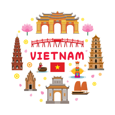 Vietnam Travel Attraction Label, Landmarks, Tourism and Traditional Culture Stock Vector - 78756062