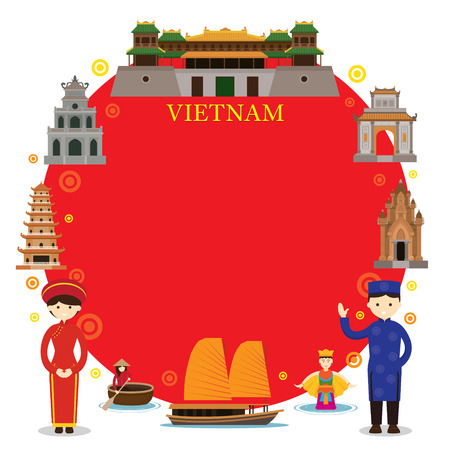 Vietnam Landmarks, People in Traditional Clothing, Frame, Culture, Travel and Tourist Attraction Stock Illustratie
