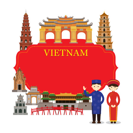 Vietnam Landmarks, People in Traditional Clothing, Frame, Culture, Travel and Tourist Attraction Illustration