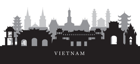 Vietnam Landmarks Skyline in Black and White Silhouette, Cityscape, Travel and Tourist Attraction Stock Vector - 78620959