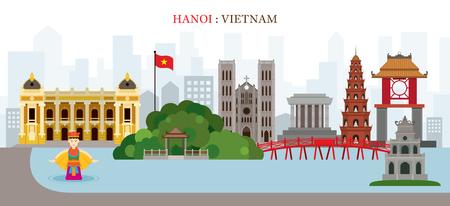 Hanoi, Hoan Kiem Lake, Vietnam Landmarks Skyline, Cityscape, Travel and Tourist Attraction Illustration