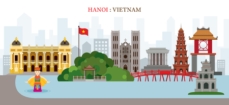 Hanoi, Hoan Kiem Lake, Vietnam Landmarks Skyline, Cityscape, Travel and Tourist Attraction Illustration