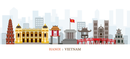 Hanoi Vietnam Landmarks Skyline, Cityscape, Travel and Tourist Attraction