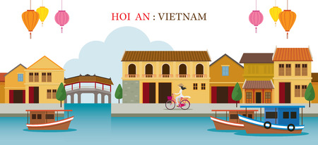 Hoi An Vietnam Landmarks Skyline, Cityscape, Travel and Tourist Attraction Illusztráció