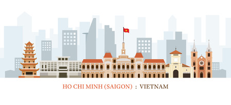 Saigon or Ho Chi Minh City, Vietnam Landmarks Skyline, Cityscape, Travel and Tourist Attraction