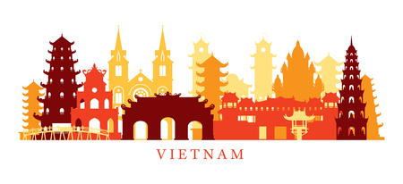 Vietnam Architecture Landmarks Skyline, Shape, Silhouette, Cityscape, Travel and Tourist Attraction